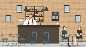 Interior of cafe or bar in loft style. Bar counter, bartender in blue shirt with glasses of champagne,beautiful women and shelves stock illustration