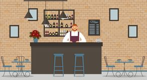 Interior of cafe or bar in loft style. Bar counter, bartender in white shirt and apron, tables, poinsettia,different chairs and sh royalty free illustration