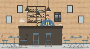 Interior of cafe or bar in loft style stock illustration