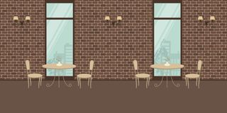 Interior of a cafe with beige furniture on a brick wall background vector illustration