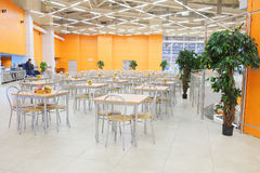 Interior of the cafe in Crocus City Mall. MOSCOW, RUSSIA - MARCH 24, 2015: Interior of the cafe in Crocus City Mall. Crocus City complex (Mall, Expo, Hotels Royalty Free Stock Image