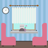 Interior of the cafe in a flat style. Illustration Royalty Free Stock Image