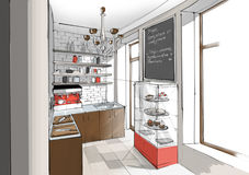 Interior of cafe kitchen. Interior of cafe or restaurant kitchen stock illustration
