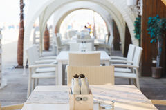 Interior of cafe-restaurant at the beach Royalty Free Stock Photo