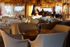 Interior of cafe-restaurant at the beach Royalty Free Stock Images