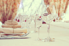 Interior of the cafe . table setting Stock Images