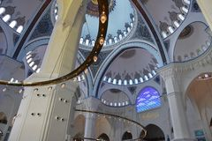 Interior of the Camlica Mosque Ä°stanbul Turkey stock image