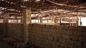 Interior of canopy in Bedouin village in desert Stock Images
