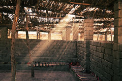Interior of canopy in Bedouin village in desert Stock Photo