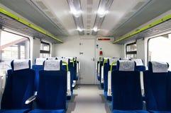 Interior of the car of diesel train PESA 730M DP3 of the Belar. Interior of the polish diesel train PESA 730M DP3 of the Belarusian railway Stock Photography