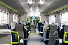 Interior of the car of diesel train PESA 730M DP3 of the Belar. Interior of the polish diesel train PESA 730M DP3 of the Belarussian railway Stock Photo