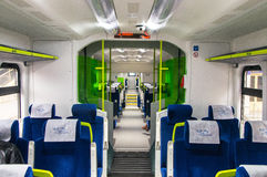 Interior of the car of diesel train PESA 730M DP3 of the Belar. Interior of the polish diesel train PESA 730M DP3 of the Belarussian railway Stock Photos