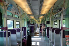 The interior of the car of high-speed train Royalty Free Stock Photo