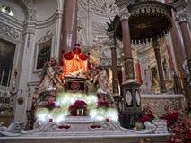 Interior of the Carmelite church in Valletta Stock Photos