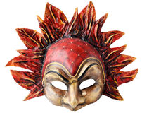 Interior and carnaval mask embodying the element of fire, isolated on white background Royalty Free Stock Photography