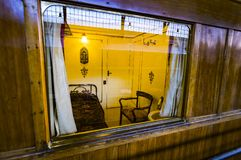 Interior carriages of the train compartment in the museum of the railway in Madrid. MADRID, SPAIN - 27 MARCH, 2018: Interior carriages of the train compartment stock photo