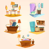 Interior cartoon retro set Stock Photography