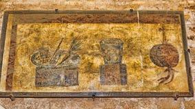Interior of the Caseggiato del Termopolio : Decorative still life fresco. Ostia Antica - Rome , Italy Royalty Free Stock Photography