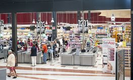 Coop mall megastore. Interior, the cash register area, of Coop supermarket store in Florence - megastore Centro Gavinana unicoop Firenze stock photos