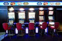 Interior of casino Admiral. Slot machines lounge. Klaipeda, Lithuania. Stock Photography