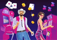 Interior casino with people. Lucky woman playing in slot machines. Lucky man with cowboy hat hold money. Design concept Stock Images