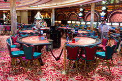 Interior of Casino `Royale` on large cruise ship `Voyager of the Seas`. Royal Caribbean International cruise company. Stock Photography