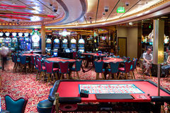 Interior of Casino `Royale` on large cruise ship `Voyager of the Seas`. Royal Caribbean International cruise company. Stock Photo