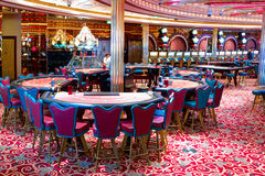 Interior of Casino `Royale` on large cruise ship `Voyager of the Seas`. Royal Caribbean International cruise company. Royalty Free Stock Images