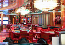 Interior of Casino `Royale` on large cruise ship `Voyager of the Seas`. Royal Caribbean International cruise company. Royalty Free Stock Photos