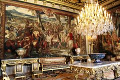 Interior of Castle Fontainebleau, France stock photo