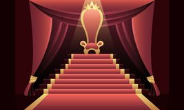 Interior of the castle with the throne. Interior of the castle with a throne and a red carpet. Vector illustration Royalty Free Stock Photos