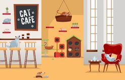 Interior cat cafe. Cozy place with coffee and many cats in armchairs and houses with set of accessories, stuff.Spacious room with royalty free illustration