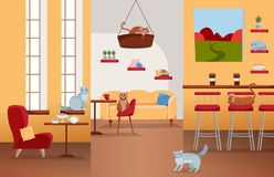 Interior of cat cafe with large windows, comfortable red chair, tables with tea and coffee. Many cats on furniture and cat house royalty free illustration