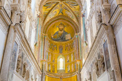 Interior of the Cathedral-Basilica of Cefalu. Mosaic of Christ. Royalty Free Stock Photos