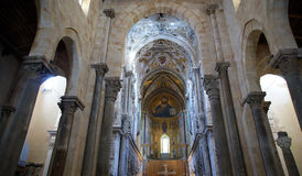 The interior Cathedral-Basilica of Cefalu, Sicily, southern Italy. Stock Photo