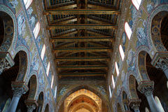 The interior Cathedral-Basilica of Monreale Royalty Free Stock Photos