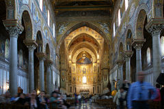 The interior Cathedral-Basilica of Monreale Royalty Free Stock Photo
