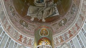The interior Cathedral-Basilica of Monreale, is a Roman Catholic church, Sicily, southern Italy Ken burns effect.  stock footage