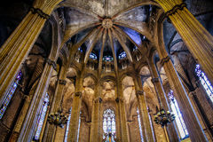 Interior of Cathedral of the Holy Cross and Saint Eulalia, barce Stock Photos
