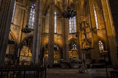 Interior of Cathedral of the Holy Cross and Saint Eulalia,  on March 31, 2013 in Barcelona, Spain Royalty Free Stock Photo