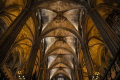 Interior of Cathedral of the Holy Cross and Saint Eulalia,  on March 31, 2013 in Barcelona, Spain Royalty Free Stock Photos