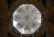 Interior of Cathedral of the Holy Cross and Saint Eulalia,  on March 31, 2013 in Barcelona, Spain Royalty Free Stock Image
