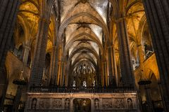 Interior of Cathedral of the Holy Cross and Saint Eulalia,  on March 31, 2013 in Barcelona, Spain Stock Photo
