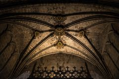 Interior of Cathedral of the Holy Cross and Saint Eulalia,  on March 31, 2013 in Barcelona, Spain Royalty Free Stock Photography