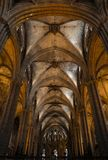 Interior of Cathedral of the Holy Cross and Saint Eulalia,  on March 31, 2013 in Barcelona, Spain Stock Images