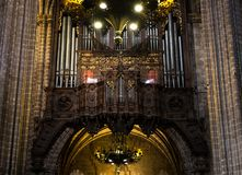 Interior of Cathedral of the Holy Cross and Saint Eulalia,  on March 31, 2013 in Barcelona, Spain Royalty Free Stock Images