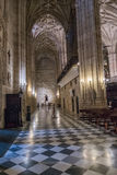 Interior of Cathedral of the incarnation, detail of vault formed by pointed arches, soil formed by tiles of white and black marble Royalty Free Stock Photography