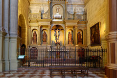 Interior Cathedral of Malaga--is a Renaissance church in the city of Malaga, Andalusia, southern Spain Royalty Free Stock Photo