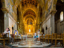 Interior of the Cathedral of Montreale or Duomo di Monreale near Palermo, Sicily, Italy. Stock Images
