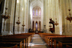 Interior of Cathedral in Nantes. In daylight in France royalty free stock photos